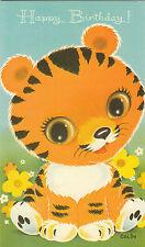 Vintage Happy Birthday Greeting Card  ~ Cute 1970's Big Eyed Tiger Cub