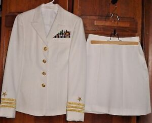 US Navy LCDR Womans Dress White Uniform w/ Ribbons