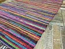 ❤️Quality Multi Colour Fringed Rag Rug 60cm x 90cm Small Flat Weave Indian