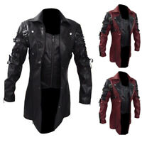 Mens Victorian Steampunk Military Goth Gothic Trench Army Punk Coat Jacket Tops