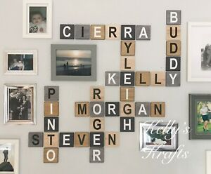 LARGE 3D WOODEN SCRABBLE TILES LETTERS  WALL ART FAMILY TREE MIX N MATCH COLOURS