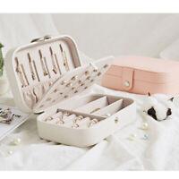 Jewelry Box Organizer Portable Travel Leather Jewellery Ornaments Case Storage E