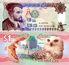 CANADA 1 Dollar Fun-Fantasy Note Private Issue Currency New 2016 QUEBEC Snow Owl