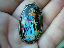 RARE ANTIQUE STERLING SILVER BLUE BUTTERFLY WING PENDANT WITH LADY MOTIF