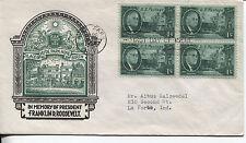 1945 FRANKLIN ROOSEVELT MEMORIAL 1 CENT STAMP BLOCK OF 4 STAEHLE CACHET ADDR FDC