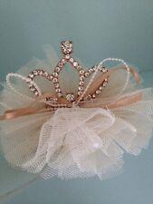 Mini Rhinestone Baby Tiara .Silver Baby Clip On Crown . Tulle Detail. Princess💞