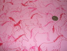 PRINTED COTTON HORSES-PINK/RED/CERISE-DRESS/CRAFT FABRIC -FREE P+P