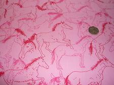 Cavalli Stampato in Cotone-Rosa/Rosso/Rosso Ciliegia-abito/Craft Tessuto-Gratis P + P
