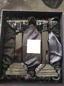 New Ebony Crystal Metropolitan Candlestick Holder Set