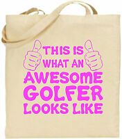 Awesome Golfer Large Cotton Tote Shopping Bag Canvas Golf Sports Day Funny Gift