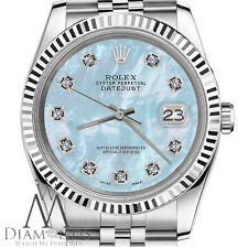 White Gold Rolex 26mm Datejust Baby Blue MOP Mother Of Pearl Diamond SS Watch