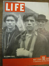 LIFE May 7 1945 Bacall, concentration camp, FDR death, ELBE Fassari, WW II humor