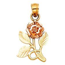 Tone Italian Solid Gold Pendant Gift Idea Rose Flower Charm Fancy 16mm 14k Two