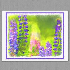 6 Lupine Flower Wildflower Painted Style Original Handmade Note Greeting Cards