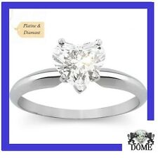 "♛""MY HEART"" BAGUE SOLITAIRE DIAMANT PLATINE 18K OR BLANC 0,50CT E SI EGL 2750E♛"