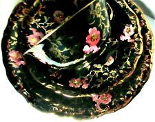 schwarzes Porzellan rosa Gold Blumchen Marken Service 3 teil. Mokka Kaffeegedeck