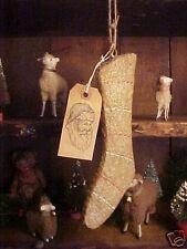 Gingerbread & Glitter Stocking Xmas Ornament & Primitive Gift Tag Cabin Decor