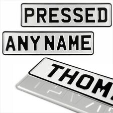 1x SMALL WHITE 340x90mm kids name text age pressed number plate metal aluminium