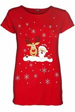 New Womens Ladies Crew Neck Christmas Cap Sleeve Candy Stick Gingerbread T Shirt
