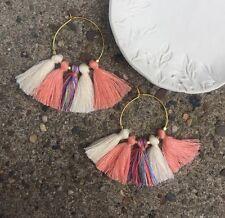 Boho Summer Earrings Pink Cream Peach Tassel Fringe & Gold Plated Hoop Urban