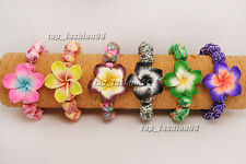 24pcs Colorful Flower Handcraft Polymer Clay Bead Stretch Bracelet Gift FREE