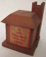 Old 1940s Wooden Sunday School Church Bank w/ Labels - sliding bottom closure