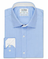 T.M.Lewin Mens Fitted Plain Blue Twill Button Cuff Shirt