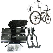 Bicycle Lift Bike Ceiling Mount Pulley Hoist Rack Garage Storage Hooks Hanger