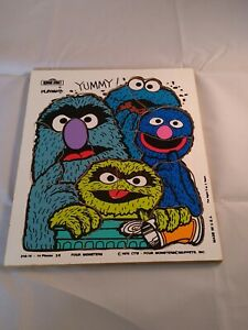VINTAGE PLAYSKOOL SESAME STREET Puzzle -Four Monsters Muppets Wooden Puzzle 1976