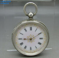 ANTIQUE ORNATE SOLID SILVER OPEN/F KEY WIND CYLINDER POCKET FOB WATCH 38mm c1890