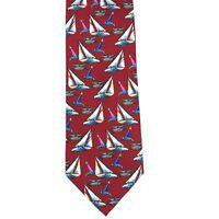 """Utopia Men's Tie Handmade Red Sailboat Boat Ocean Nautical Novelty Necktie 56"""""""
