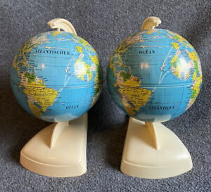 2 RARE Vintage 1950 TIN MS Globes in FRENCH & GERMAN Language made West Germany