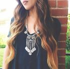 Vintage Silver Boho Coins Turquoise Long Chain Black Beads Jewelry Necklace