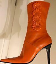 Vtg 80s Sz. 8.5 Diba Leather Boots w/Floral Motif. Orange, Glam/Mori Kei. Brazil