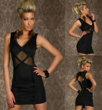 Sexy Black Mesh Dance Party Cocktail Formal Casual Chic Slim Mini Dress Sz 8 10