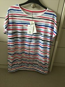 Ladies Short Sleeve Cotton Top By Gerry Weber. Size12. Striped