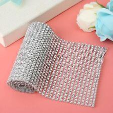 Silver Sparkle Mesh Diamond Crystal Ribbon Rhinestone Roll Gift Festive Decor