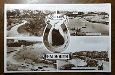 1939 Falmouth 4 View & Kitten. Real Photo Postcard. To Springfield Rd, Tottenham