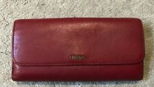 FOSSIL Trifold Red Wallet Leather Organizer