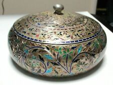 LARGE INDIA STERLING SILVER CLOISONNE ENAMEL TRINKET BOWL JAR BOX