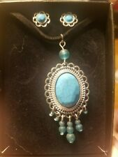 Turquoise earrings and necklace beautiful matching jewelry set