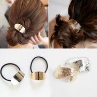 Elastic Hair Rope Hair Ties Ponytail Holder Metallic Head Band Feather Lady Girl