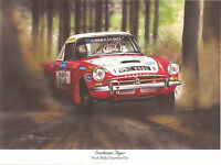 SUNBEAM TIGER WORKS RALLY CAR ARMAJARO RARE SIGNED PRINT