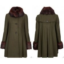 Topshop Vintage Green Wool Mix Luxury Faux Fur Collar Cuffs Swing Coat - Size 8