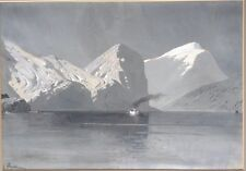 Antique Painting Alaska Waterway Boat Ship Signed? Illegible Gouache