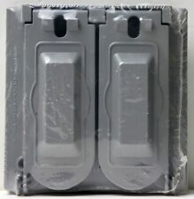 2 Gang Weatherproof GFCI Duplex Outlet Gray Metal Lockable Cover BWF-2FCL NOS