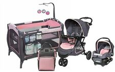 Baby Trend Stroller Jogging Travel System with Car Seat Girls Playard Crib Pink