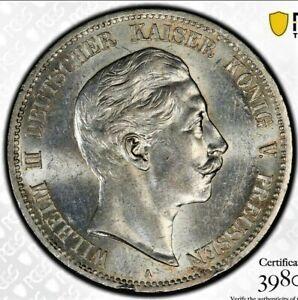 5 Mark 1908 A Wilhelm II German States PRUSSIA Rare Grade !! MS62 / PCGS !!