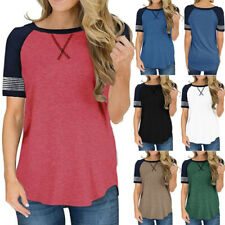 Womens Summer Short Sleeve T-Shirts Tops Solid Striped Cotton Casual Blouse Tee