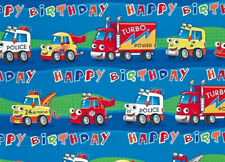 2 Sheets Gift Wrapping Paper TRUCKS CAR LORRIES Kids Boys Birthday Vehicles